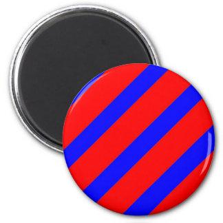 Red adn Blue Stripes 2 Inch Round Magnet