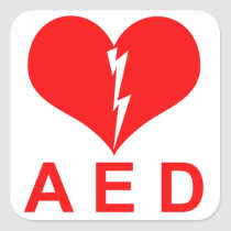 Red AED and Heart Symbol Square Sticker