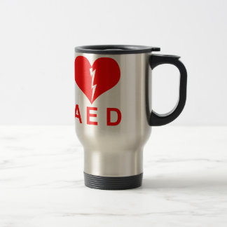 Red AED and Heart Symbol Travel Mug