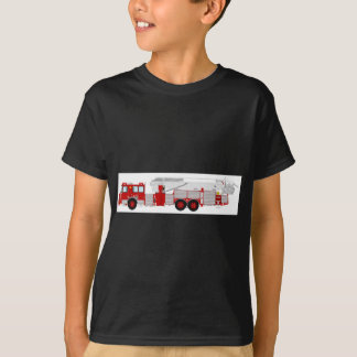 Red Aerial Scope Custom Fire Truck Design T-Shirt