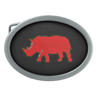 red africa rhinocerus oval belt buckle