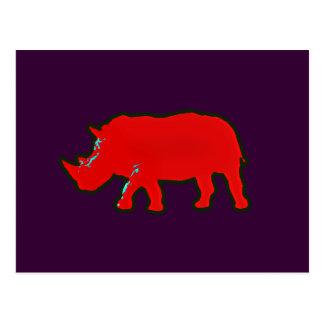 red africa rhinocerus postcard