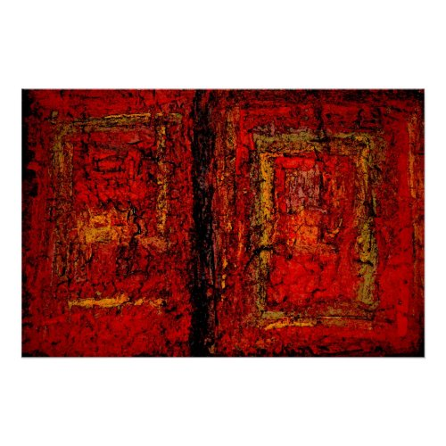 Red African Abstract Painting Art Print Poster print
