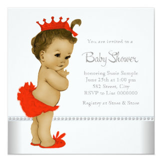 Red African American Baby Girl Shower Invitation