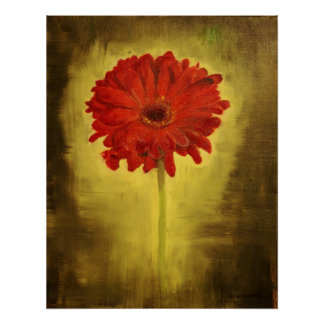 Red African Daisy Print