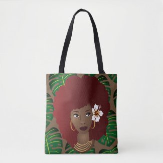 Red Afro Flower in Hair Tropical Leaves Pattern