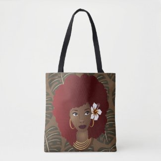 Red Afro, Flower in Hair, Tropical Leaves Pattern