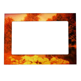 Red Afternoon Pond Magnetic Photo Frame