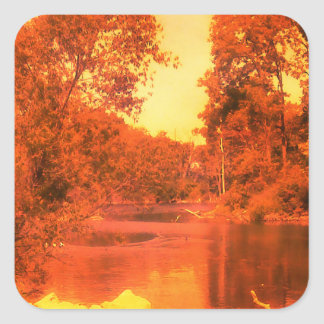 Red Afternoon Pond Square Stickers