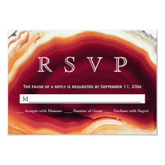 Red agate slice geode autumn colors wedding RSVP Card