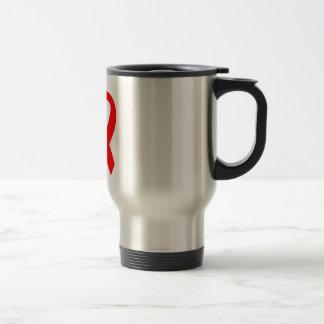 Red AIDS Awareness Ribbon Travel Mug