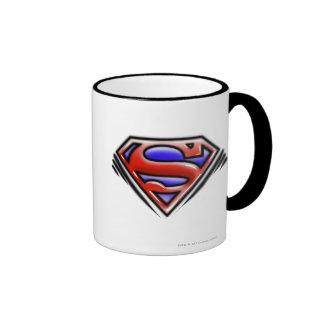 Red Airbrush Superman Logo Ringer Coffee Mug