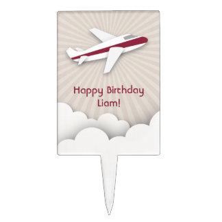Red Airplane Birthday Cake Pick