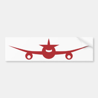 Red Airplane Front View Icon Bumper Sticker