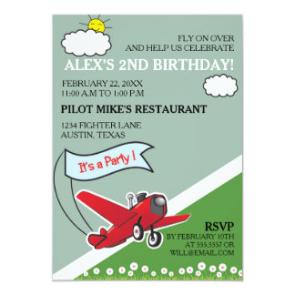 Red Airplane Landing Birthday Party Card
