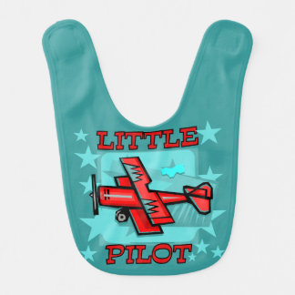 Red Airplane Little Pilot Bib