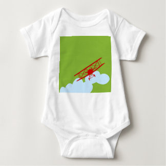 Red airplane on plain lime green. baby bodysuit