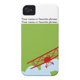 Red airplane on plain lime green. Case-Mate iPhone 4 cases
