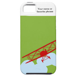 Red airplane on plain lime green. iPhone SE/5/5s case