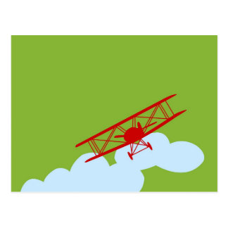 Red airplane on plain lime green. postcard