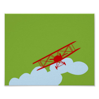 Red airplane on plain lime green. poster