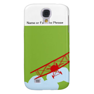 Red airplane on plain lime green. samsung galaxy s4 cover