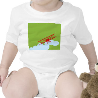 Red airplane on plain lime green. t shirt