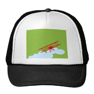 Red airplane on plain lime green. trucker hat