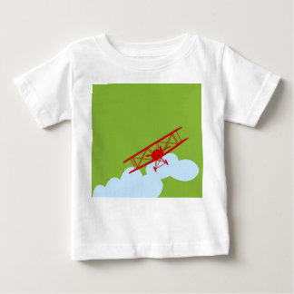 Red airplane on plain lime green. t-shirt