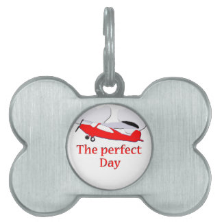 Red Airplane Pet Name Tag