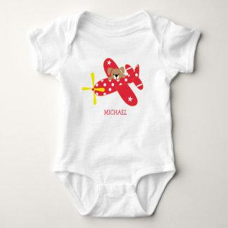 Red Airplane Puppy Dog Baby Bodysuit