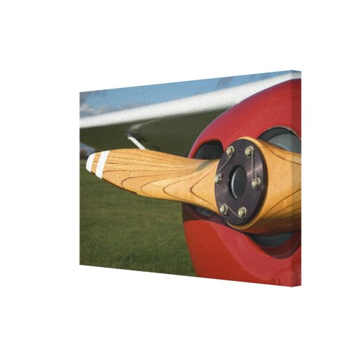 Red Airplane Wooden Propeller Wrapped Canvas Print