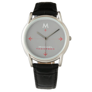 red airplanes with name & initial, elegant watch