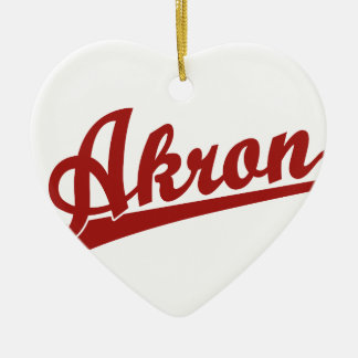 Red Akron Script Logo Christmas Ornaments