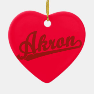 Red Akron Script Logo Christmas Ornament