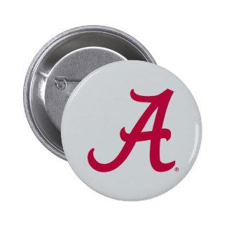 """Red Alabama """"A"""" 2 Inch Round Button"""