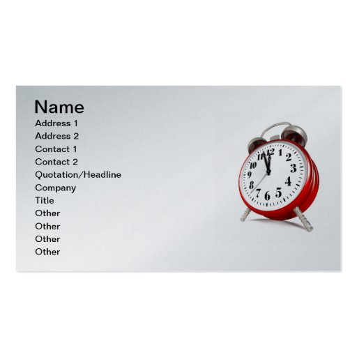 Red Alarm Clock Business Cards