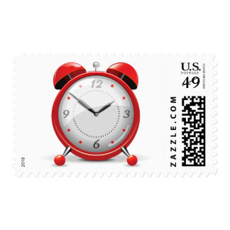 Red Alarm Clock Postage