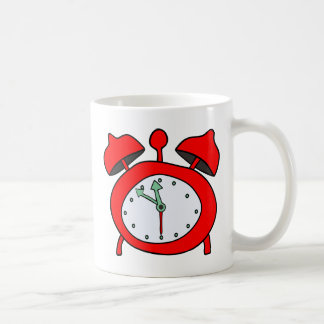 red alarmclock coffee mug