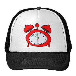 red alarmclock trucker hat