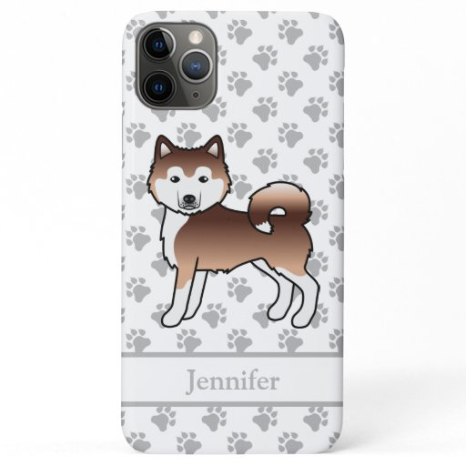 Red Alaskan Malamute Cute Cartoon Dog & Name iPhone 11 Pro Max Case