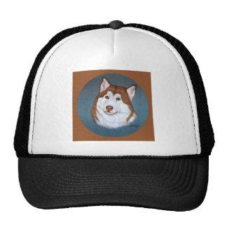 Red Alaskan Malamute Design Trucker Hat