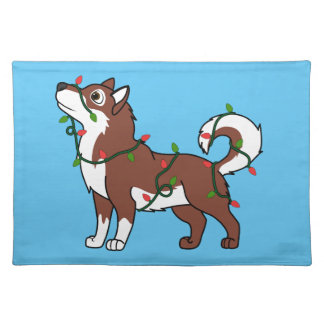 Red Alaskan Malamute with Christmas Lights Cloth Place Mat
