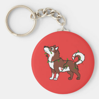 Red Alaskan Malamute with Christmas Lights Keychain