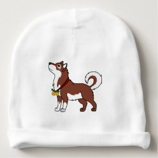 Red Alaskan Malamute with Gold Jingle Bells Baby Beanie