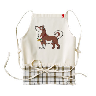 Red Alaskan Malamute with Gold Jingle Bells Zazzle HEART Apron