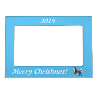 Red Alaskan Malamute with Silver Jingle Bells Magnetic Frame