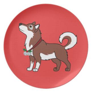 Red Alaskan Malamute with Silver Jingle Bells Melamine Plate