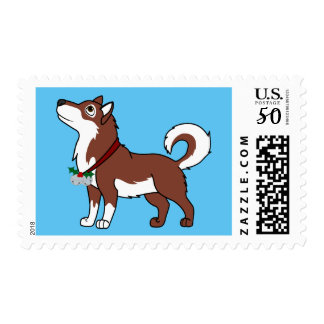 Red Alaskan Malamute with Silver Jingle Bells Postage