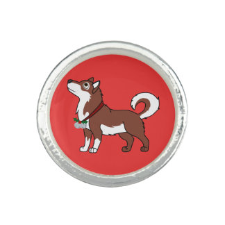 Red Alaskan Malamute with Silver Jingle Bells Rings
